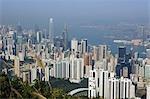 Paysage urbain depuis le belvédère de Jardine, Hong Kong