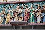 Ethnic sculptures on the outer wall of Sri Senpaga Vinayagar temple,Katong,Singapore