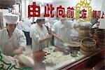 Bun making at Nanxiang steamed bun restaurant,Yu Yuan,Shanghai,China