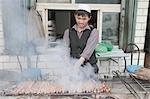 Kabob stand,Bazaar of Kuche (Kuqa),Xinjiang,China