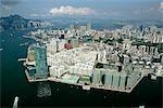 Vue aérienne du port de Victoria vers Hung Hom, Kowloon, Hong Kong