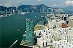Vue aérienne sur Hung Hom surplombant Victoria Harbour, Hong Kong