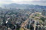 Vue aérienne sur Mongkok & Tai Hong Tsui, Kowloon, Hong Kong