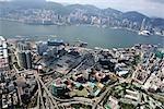Vue aérienne sur Hung Hom & Tsim Sha Tsui East, Kowloon, Hong Kong