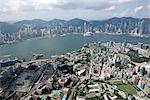 Vue aérienne sur Hung Hom & Tsim Sha Tsui, Kowloon, Hong Kong