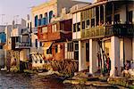Petite Venise dans le quartier de Alefkandra de la vieille ville, Mykonos, Iles Cyclades, Grèce, Europe