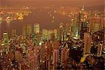 Aerial view of Hong Kong Harbour at dusk, China