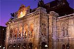 The Opera at night, Vienna, Austria, Europe
