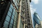 Die Lloyds-Gebäude und Swiss Re Gebäude (Gurke), City of London, London, England, Vereinigtes Königreich, Europa