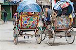 Rickshaws, Thamel area, Kathmandu, Nepal, Asia