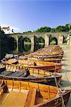 Rowing boats on River Wear and Elvet Bridge, Durham, County Durham, England, United Kingdom