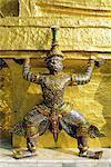 Wat Phra Kaeo (Wat Phra Kaew) (Wat Phra Keo), Temple de l'Emerald Buddha, Grand Palais, Bangkok, Thaïlande, Asie