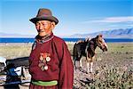 Camp de nomades, lac Uureg Nuur, Uvs, Mongolie, Asie centrale, Asie