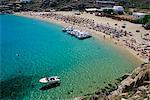 Plage Super Paradise, Mykonos, Cyclades, îles grecques, la Grèce, Méditerranée, Europe