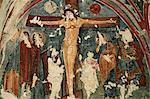 Crucifixion, Christian frescoes in Sandal Church, Goreme Open Air Museum, Goreme, Cappadocia, Anatolia, Turkey, Asia Minor, Eurasia