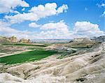 Fields in a rocky landscape, near Avanos, Cappadocia, Anatolia, Turkey, Eurasia