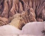 Différentes roches colorées dans la vallée de la rouge, Orthaisar, Cappadoce, Anatolie, Eurasie