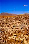 Volcanic landscape with volcanoes in background near Tiscamanita, Fuerteventura, Canary Islands, Spain
