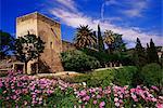 Torre de La Sultana and spring flowers, Alcazaba, Alhambra, UNESCO World Heritage Site, Granada, Andalucia, Spain, Europe