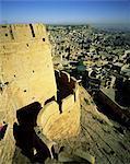 Vue de Jaisalmer et autour de vieux murs, Rajasthan occidental, Rajasthan État, Inde, Asie