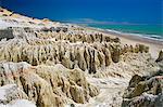 Rock formations and coastline near Canoa Quebrada, Canoa Quedrada, Ceara', Brazil, South America