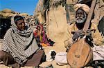 Old man playing his sitar, Thar Desert, Rajasthan state, India, Asia