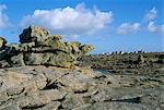 Le village vu depuis les grands rochers, Ile de Sein, Iles Breton, Finistere, Bretagne, France, Europe