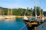 Jetty, west coast, island of La Digue, Seychelles, Indian Ocean, Africa