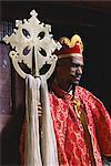 Portrait of a man holding a Christian symbol,Bieta Golgotha,Lalibela,Wollo region,Ethiopia,Africa