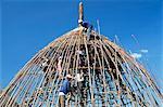Construction d'une maison circulaire, Gourague pays, province de Shoa, Ethiopie, Afrique