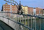 The Ha'penny bridge over the Liffey River,Dublin,County Dublin,Eire (Ireland),Europe