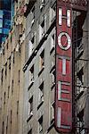 Gros plan hôtel signe, New York, États-Unis d'Amérique, Amérique du Nord