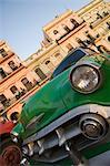 Voiture verte, la Havane, Cuba, Antilles, Amérique centrale