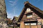 Toit de chaume zukuri gassho traditionnelles maisons Shirakawa-go village, patrimoine mondial UNESCO, Gifu prefecture, Japon, Asie
