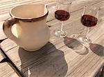 Ceramic pitcher with wine glasses