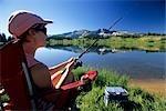Woman fishing by lake