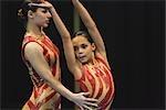 Girl performing rhythmic gymnastic
