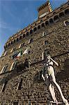 marble statue copy of Michael Angelos David, Piazza della Signoria, Florence, Tuscany, Italy, Europe