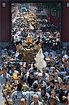 Mikoshi portable shrine of the gods parade and crowds of people, Sanja Matsuri Festival, Sensoji Temple, Asakusa Jinja, Asakusa, Tokyo, Japan, Asia