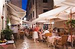Outdoor dining in the evening, Dubrovnik, UNESCO World Heritage Site, Dalmatia, Croatia, Europe