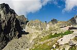Mountain scenery and hiking area, Teryho refuge hut, High Tatras Mountains (Vyoske Tatry), Tatra National Park, Slovakia, Europe