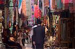 Homme juif David rue touristique marché, vieille ville fortifiée, Jérusalem, Israël, Moyen-Orient