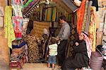 Fabric store, market souq area, Aleppo (Haleb), Syria, Middle East
