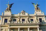 Detail of the facade of Vinohrady Theatre, built in 1909, on namesti Miru (Square), Vinohrady, Prague, Czech Republic, Europe