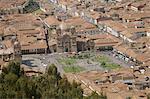 Luftbild der Stadt Cuzco, UNESCO World Heritage Site, Peru, Südamerika