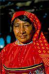 Portrait of a Kuna (Cuna) woman, Contadora island, Las Perlas archipelago, Panama, Central America