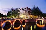 Coin de Keizersgracht et Leidsegracht, Amsterdam, Pays-Bas (Hollande), Europe