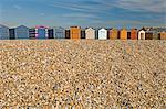 Beach huts locked up for winter, Hayling Island, Hampshire, England, United Kingdom, Europe