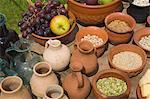 Ustensiles et produits alimentaires croyaient aux soldats romains, Birdoswald Fort romain, mur d'Hadrien, Northumbria, Angleterre, Royaume-Uni, Europe