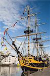 Grand voilier Grand Turk, amarré dans le port intérieur, Whitehaven. Cumbria, Angleterre, Royaume-Uni, Europe